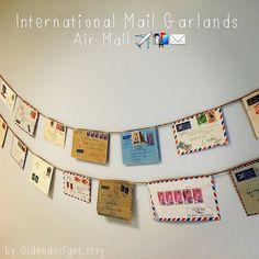 World Mail Banner, Garland, Par Avion, Post Office, Envelope Art, Vintage Letters, Vintage Envelopes, Travel, Vintage Stamps, Vintage Mail