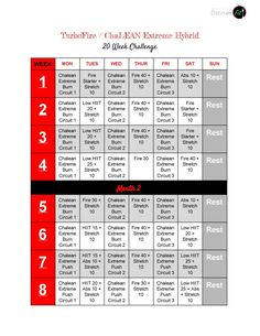 Check out this new TurboFire / ChaLEAN Extreme Hybrid Workout Schedule! Get amazing results with these fantastic programs and have fun doing it!