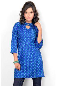 Casual Wear Blue Cotton Printed Kurti