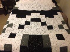 #crochet Starbursting #Star Wars #Stromtrooper granny square blanket