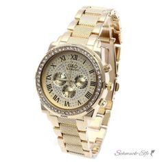 Damen Edelstahl Armbanduhr Gold Strass GLAM QUEEN