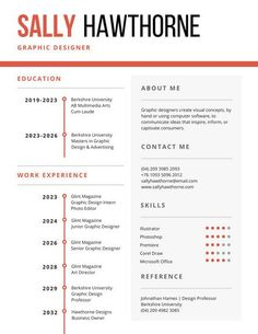 White and Orange Corporate Resume