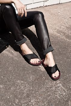 leather pants + celine slides | Oracle Fox