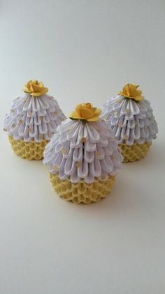 3D Origami Miniature Pastel Yellow Cupcakes Set By WhimsicalFolds