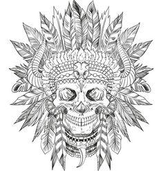 Indian chief skull vector