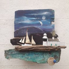 Roancarrigmore (The large rock of the Seals) Lighthouse, Bantry Bay, Co. Cork. A more painterly piece this. #driftwoodart #bantry #westcork #wildatlanticway #sculpture #automata #sailing #landscapeart #picofday
