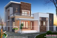 Flat roof 1516 square feet small double storied house plan by San Builders, Cochin, Kerala. Flat Roof House Designs, House Roof Design, Village House Design, Kerala House Design, Home Building Design, Bungalow House Design, Facade House, Home Design, Single Floor House Design