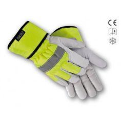 Lederhandschuhe Winter aus Ziegenvollleder mit gelb leuchtenden Reflexstreifen. Bietet einen hohen Tragekomfort und sehr guten Kälteschutz.