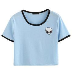 Shop Blue Crew Neck Alien Print Crop T-Shirt online. SheIn offers Blue Crew Neck Alien Print Crop T-Shirt & more to fit your fashionable needs. T Shirt And Shorts, Crop Shirt, Tee Shirts, Short Shirts, Harajuku, T-shirt Hippie, Bauchfreier Pullover, Alien Crop Top, Style Clothes