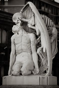 The kiss of death. This astonishing sculpture forms part of. (The Messes of Men) * The kiss of death ~ This astonishing sculpture forms part of Barcelona's Poblenou Cemetery. The Kiss of Death (El Petó de la Mort in Catalan and El beso de la muerte in S La Danse Macabre, Illusion Kunst, Kiss Of Death, Angel Of Death Tattoo, The Death, Cemetery Art, Cemetery Statues, Angel Statues, Art Sculpture