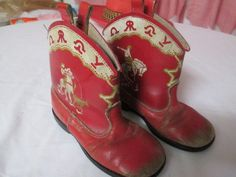 Vintage Childs Red Cowboy Boots.