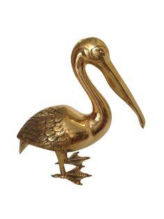 Monumental Vintage Brass Pelican on Chairish.com