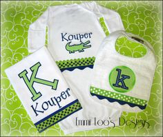 Personalized Preppy Alligator Baby Shower Gift by EmmiLoosDesigns,