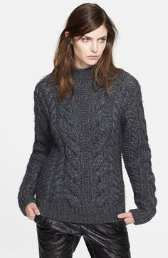 Love this dark grey cable knit.