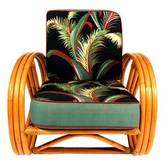 Vintage 3 Strand 3/4 Pretzel Rattan Lounge Chair in the Manner of Paul Frankl