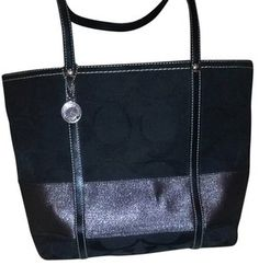Coach Tote in Black and Metallic Gray