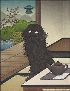 "Keukegen- Japanese folklore: a creature covered in black fur that lives in peoples houses. Its name means ""rarely seen"". It was a disease spirit, inflicting sickness into those who lived in its host house. It also reminds me vaguely of cookie monster. Folklore Japonais, Art Japonais, Japan Illustration, Japanese Yokai, Japanese Art, Mythological Creatures, Fantasy Creatures, Japanese Mythical Creatures, Japanese Legends"