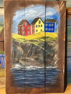 'Newfoundland Cliff Hangers' - Acrylic on reclaimed wood - Kimberly Ropson Vacation Places, Dream Vacations, Pallet Wall Art, Crafts With Pictures, Coastal Art, Newfoundland, Jelly Beans, Cliff, Hangers
