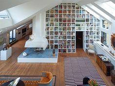 Stockholm loft apartment: library area