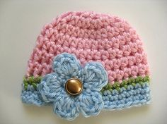 Blue and Pink Doll Hat and Scarf Set Medium Doll Size Crochet Dolly Hat Soft Yarn