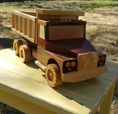 Wooden toy dump truck.  Wood from woodtrash.com