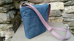 Blue Waxed Canvas Shoulder Bag by HedgerowBags on Etsy