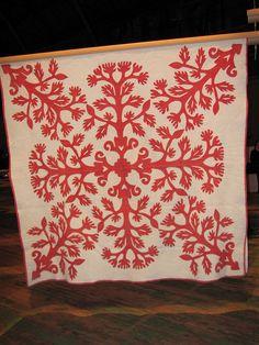 Red & White Hawaiian Applique Quilt