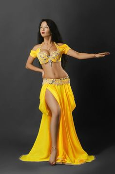 Yellow belly dance costume Russian design