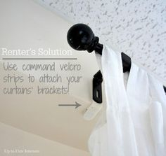 Use command strips to hang curtains and wall decor without damaging the walls of your rental. Sweet!