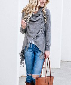 Trendy fringe and a slightly slouchy silhouette give this cotton-blend cardigan a look that's oh-so-boho. Fringe Cardigan, Cold Weather Fashion, Knitting Projects, Sweaters For Women, Boho, Grey, Cotton, Knits, Style