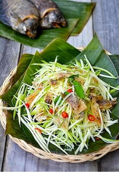 Green Mango Salad with Moonlight Gourami Fish