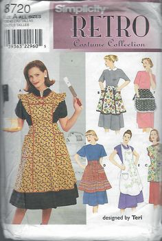 """1999 Simplicity 8720 Retro Costume Collection 6 Aprons Sewing Pattern Size A S,M,L Bust 32 1/2""""-34"""", 36""""-38"""", 40""""-42"""" UNCUT by Recycledelic1 on Etsy"""