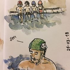 Retomando la observación activa.  Getting back on active watching. @urbansketchers #usk #dailysketch #pool #piscina #sketchbook #urbansketching