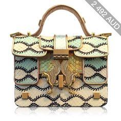 Giancarlo Petriglia Designer Handbags Romantic Multicolor Printed Elaphe Leather Mini P Bag