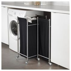 IKEA - GRUNDTAL Laundry bin with casters stainless steel, black