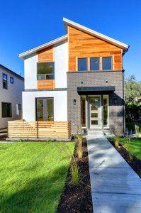Modern Exterior Home Ideas | Brick, Stucco and Cedar exterior.  Modern Single Family Home.