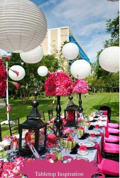 I think the bridal party should have hot pink table cloth.Hot Pink and Black Outdoor Wedding Reception Outdoor Wedding Reception, Reception Table, Reception Decorations, Event Decor, Table Decorations, Wedding Wishes, Our Wedding, Dream Wedding, Wedding Ideas