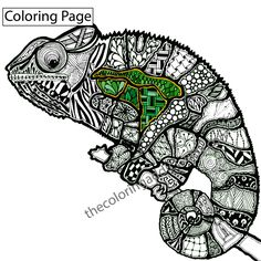 Zentangle Lizard Coloring Page Animal Colouring
