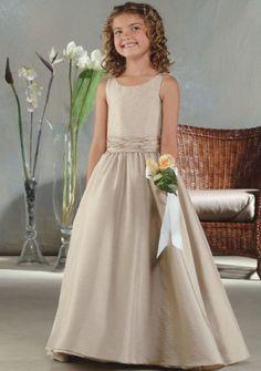 A-line Scoop neck Floor-length Taffeta Flower Girl Dress