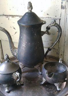 Shabby Silver Plated Three Piece Tea Set