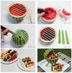 DIY Vegan fruit salad kabobs.