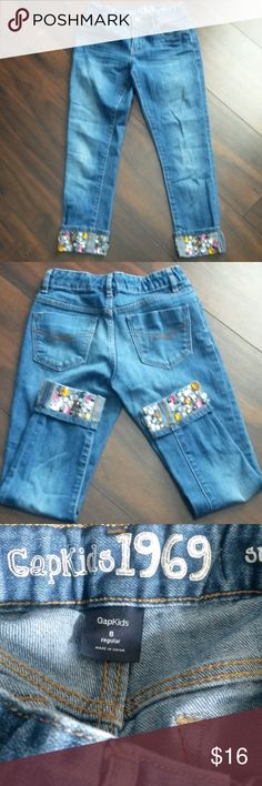 """Girls jeans-size 8 Make me an offer! Adorable Gapkids 1969, super skinny jeans. Cuff is 2 1/2"""" and is embellished with jewels. Waist is adjustable and inseam is 21""""  EUC GAP Bottoms Jeans"""