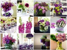 green purple wedding centerpieces mosaic