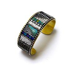 Mosaic Brass Cuff Bracelet with blue green by LizardsJewelry
