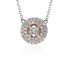 Monique Lhuillier Double Halo Pendant in 18k White and Rose Gold   Blue Nile