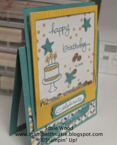 "Stampin' Up! 2014-2015 In Colors- Lost Lagoon & Hello Honey.  A tent ""shaker"" card using the photopolymer set- 'Endless Birthday Wishes'!"
