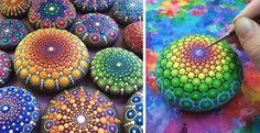 Artist creates colorful mandalas using ocean stones and thousands of tiny paint dots.