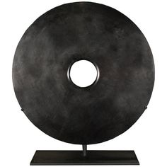Black Chinese Bi-Disc on Custom Mount | From a unique collection of antique and modern sculptures and carvings at https://www.1stdibs.com/furniture/asian-art-furniture/sculptures-carvings/