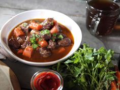 Beef Bourguignon recipe from Nancy Fuller via Food Network-used vegetable broth and didn't have or herb-delicious!