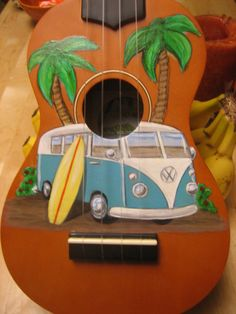 Ukulele with hand painted Kombi van on Etsy, $130.00
